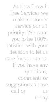 At NewGrowth Tree Services we make customer service our #1 priority. We want you to be 100% satisfied with your decision to let us care for your trees. If you have any questions, comments or suggestions please call or e-mail us today